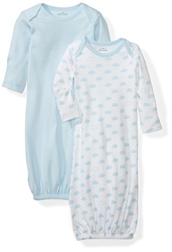 Moon and Back Baby Set of 2 Organic Sleeper Gowns, Blue Sky, 0-6 Months