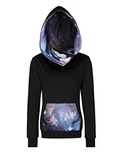 - sanatty Women Fleece Hoodie Sweatshirts Pullover Heavyweight Black Galaxy Hooded Shirts Pocket ((Slim Fit) Tag 2XL/3XL, Sliver Galaxy)