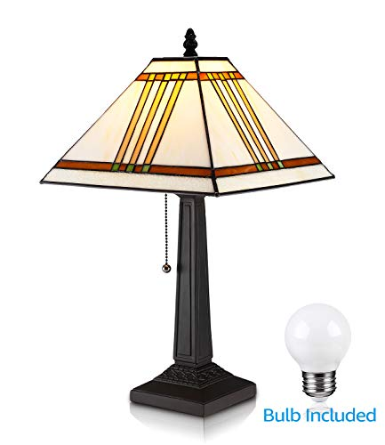 TORCHSTAR Tiffany Style Mission Design Square Table Lamp, Handmade Lampshade, 2.5W LED G45 E26 Bulb Included, Vintage Table Lights for Living Room, Bedroom, Bedside Desk, Coffee Table, Bookcase