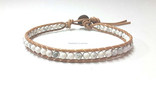 Infinity Trendy Howlite Bead Bracelet Woven with Leather Cord 7.5 Inches Beautiful Handmade Hippie Bohemian