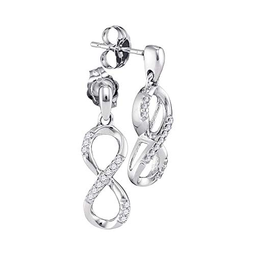 10k White Gold Womens Round Diamond Infinity Dangle Screwback Earrings 1/10 Cttw