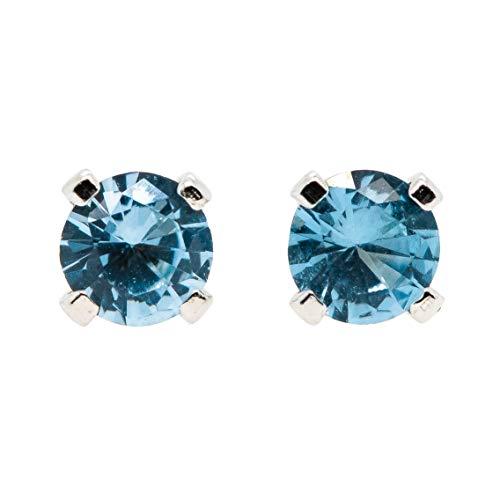 Large 6mm Blue Zircon Stud Earrings in Sterling Silver - December ()