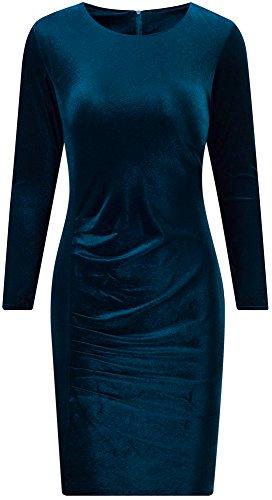 Bewish Femmes Col Rond Manches Longues Simple, Coupe Ébouriffé Élastique T-shirt Robe Vert Foncé