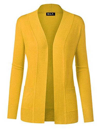 Bright Sweater - BH B.I.L.Y USA Women's Open Front Long Sleeve Classic Knit Cardigan Yellow Medium