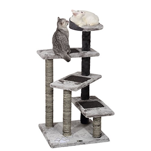 Ollieroo Cat Tree Scratcher Post Furniture Kitten Activity Tower Solid Condo Play House (Gray(40''H))