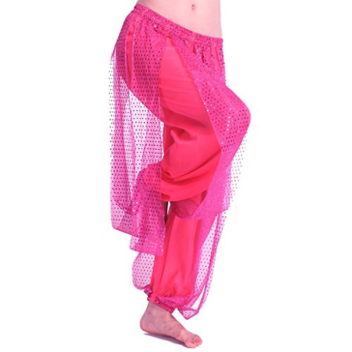 Pink Pants Halloween Costume (MUNAFIE Belly Dance Harem Pants Arabic Halloween Lantern Shiny Pants Fancy Pants US0-14 Dark)