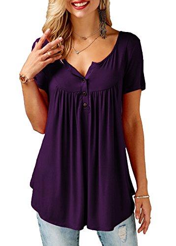 Mystry Zone Women Short Sleeves Flare Tunic Tops for Leggings Flowy Shirt Purple X-Large (Top Shirt Leggings)