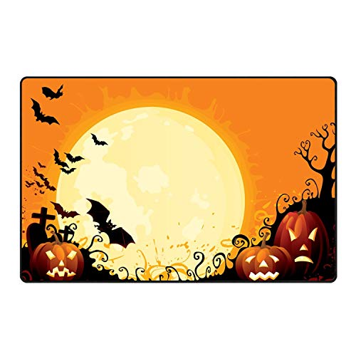 Happy Halloween Pumpkin Welcome Doormats Entrance Rug Floor Rubber for Garage, Patio, High Traffic -