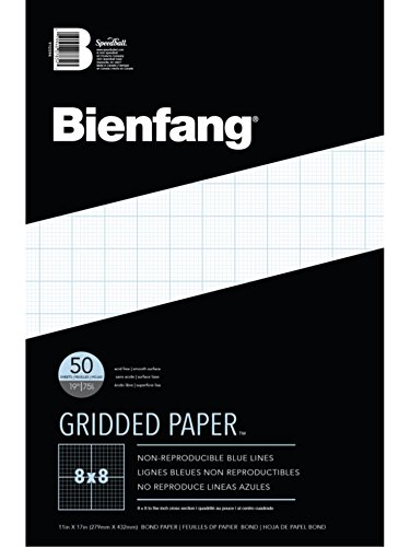 Bienfang Designer Grid Paper, 50 Sheets, 11-Inch by 17-Inch Pad, 8 by 8 Cross Section