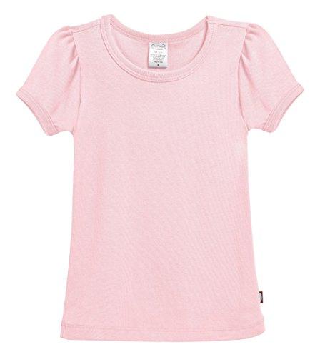 City Threads Little Girls' Baby Rib Cotton Short Sleeve Puff Fashion Shirt Tee Tshirt Blouse, Pink, (Girls Rib Tee)