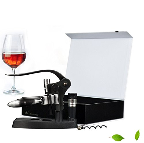 Wine Opener,Creative Classic Waiter Corkscrews Wine Bottle Opener With Foil Cutter+Wine Stopper+Extra Spiral+Stand,Best Bar Wine Accessories And Gifts