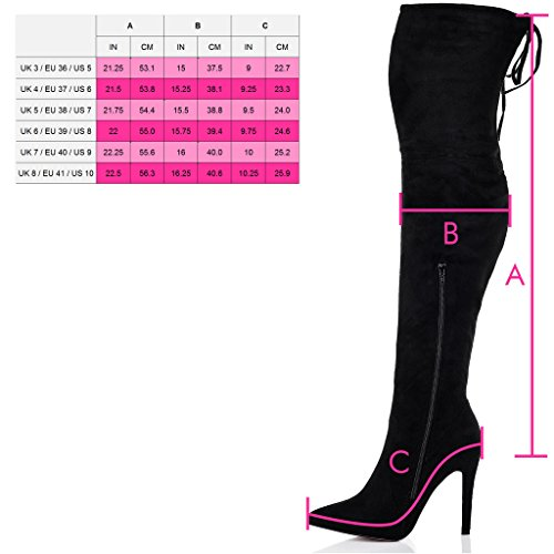 Lace Up Thigh Heel Suede Toe Stiletto Pointed Boots Style SPYLOVEBUY High KARA Women's Black FxqUHwTH