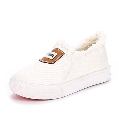 Price comparison product image Orlando Johanson New Boys and Girls Slip on Loafers Low-Top Rubber Sole Canvas Shoes(Toddler / Little Kid / Big Kid) White4 M US Big Kid Comfortable