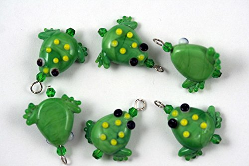 Tropical Design Green Frog Lampwork Glass Bead (Pack of 6)