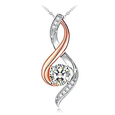 Necklace, Sterling Silver Cubic Zirconia Pendant Necklace J.Rosée Fine Jewelry for Women The Eye of Lover Best Gift for Wife Girlfriend Mom, Graduation Gift with Exquisite Package