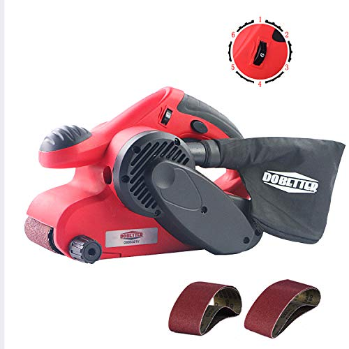 Dobetter Belt Sander 3×21 Inch Belt Sanders for Woodworking with 4pcs Sanding Belt, Dust Bag, 6 Variable Speed, Trigger Lock and Soft Grip Handles-DBBS321V