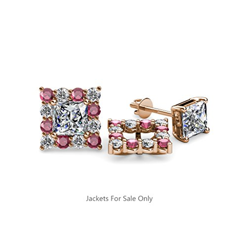 Rhodolite Garnet and Diamond Halo Jacket for Princess Cut Stud Earrings 0.80 ct tw in 14K Rose Gold