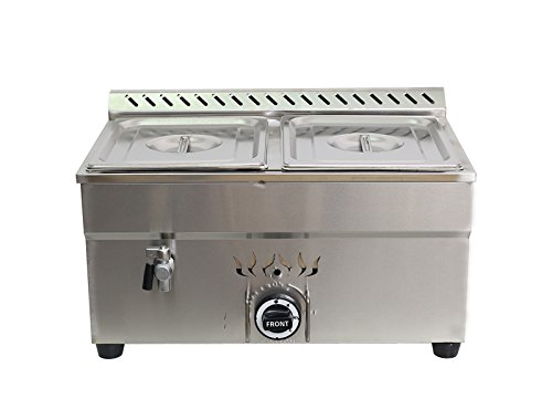 - Intbuying! 2-Pan LP Gas Bain-Marie Buffet Food Warmer Steam Table 23''
