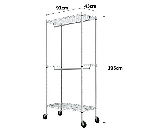 2-Tier Shelving Clothing Rack with One Hanging Rod 76