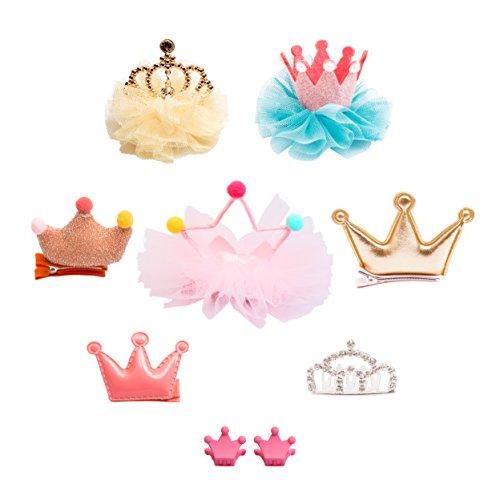 Belle Beau Baby Girls Hair Clips, Tiara Crown Hair Accessories, Princess Hair Bows Value Set (D) by Belle Beau