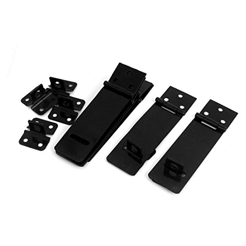 uxcell 6 Set Door Safety Lock Black Metal Padlock Hasp Staple 117mm (Black Safety Hasp)