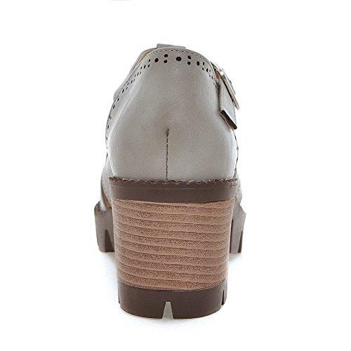 Allhqfashion Kvinners Pu Kitten-hæler Lukket Tå Fast Spenne Sandaler Grå