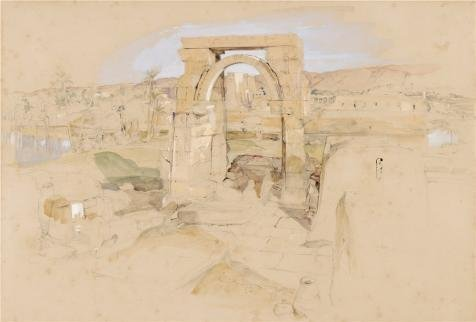 Oil Painting 'John Frederick Lewis,Ruins In Egypt,1804 - 1876' Printing On High Quality Polyster Canvas , 10x15 Inch (Ray Lewis Figurine)