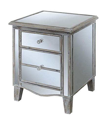 Convenience Concepts Gold Coast Mirrored End Table, Weathered White (Nightstand Gold Mirrored)