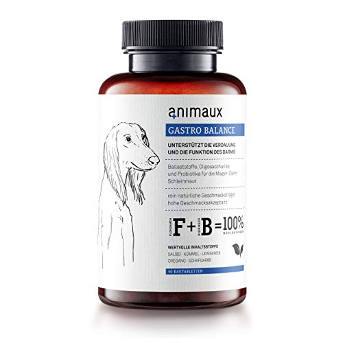 animaux gastro balance for dogs | Digestive Health Support and Probiotics | Brewer's Yeast, Psyllium Husks, Fennel | Helps to Relieve Diarrhea, Excess Winds, Irritable Bowel | 40 Chewable Tablets