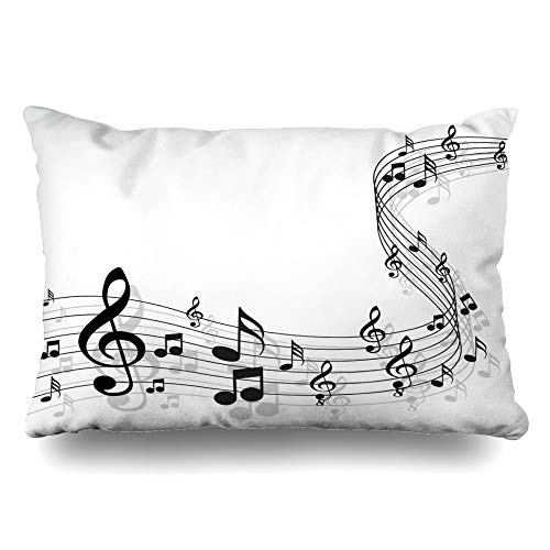 (Ahawoso Throw Pillow Cover Queen 20x30 Key Clef Music Notes On Solide White Crotchet Treble Harmony Pattern Sheet Staff Design Bass Zippered Cushion Pillow Case Home Decor Pillowcase )
