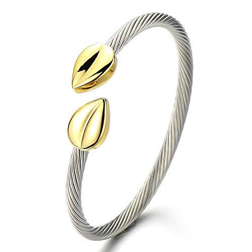 (Elastic Adjustable Womens Stainless Steel Twisted Cable Bangle Bracelet Gold Silver Two Tone)