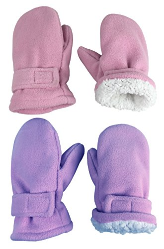 N'Ice Caps Little Kids and Baby Easy-On Sherpa Lined Fleece Mittens - 2 Pair Pack (Pink/Light Purple Pack, 2-3 Years)