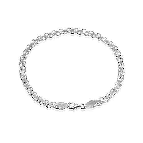 Sterling Silver 4mm Bismark Chain Bracelet, 8 Inches ()
