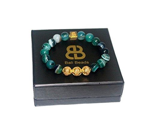 Green Striped Agate Bracelet, Men's Designer Bracelet, Green and Gold Bracelet, Gold Vermeil Bracelet