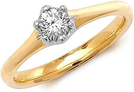 Anillo de diamante con 6 garras solitario de oro amarillo de 18 quilates, 0,35 quilates, tamaños J-Q