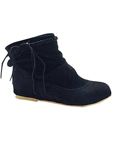 Caviglia Nero Donne Stivali Piatto Stivaletti Frange Inverno Minetom Caldo Ragazze Moda Confortevole Con Owvd7Zq