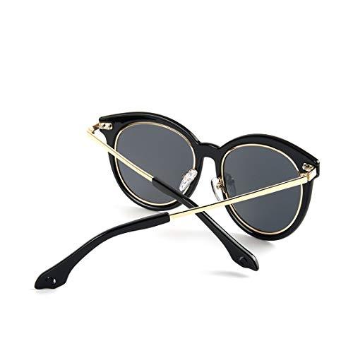 Soleil Classiques Soleil Black Color Lunettes rétro polarisées Lunettes Femmes LiShihuan Black Frame UV Frame de pour Lens Lens Lunettes de Gray de Gray Protection ECA8wqn