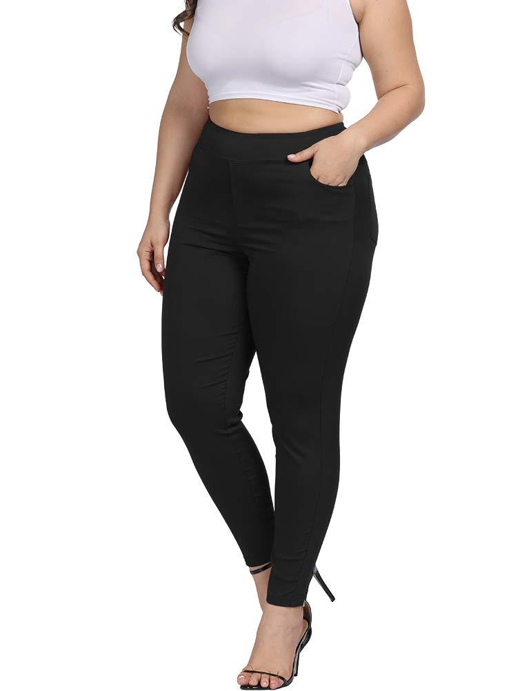 Allegrace Plus Size Women Skinny Pants Stretch Long,Tummy Control Slim Skinny Leggings with Pockets Black 2X by Allegrace