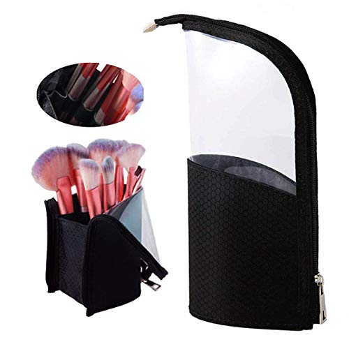 (Travel Make-up Brush Bag/Pencil Pen Case for Desk/Cup Holder Organizer Bag/Clear Plastic Cosmetic Zipper Pouch, BAGTeck Portable Waterproof Dust-Free Stand-Up Small Toiletry Stationery Bag (Black))
