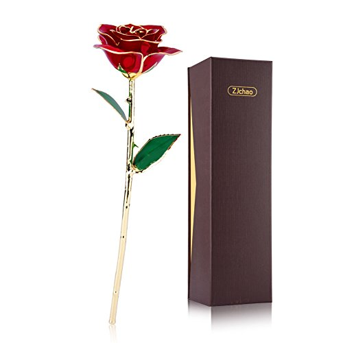 ZJchao Love Forever Long Stem 24k Gold Foil Trim Red Rose Flower, Best Gift for Valentine's Day, Mother's Day, Anniversary, Birthday Gift (Red Flowers For Valentines Day)