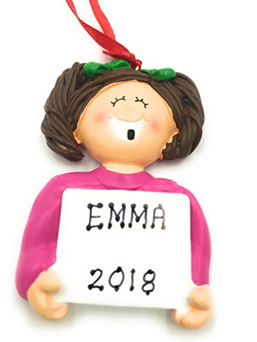 Personalized Girl Brunette Lost A Tooth Christmas Ornament 2018 Free ()