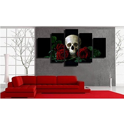 Halloween Day Skull Canvas Wall Art Abstract Black and White Print Home Decor for Living Room Contemporary Pictures 5 Panel Large Poster Decal Painting Framed Ready to Hang (70