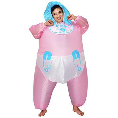 Wecloth Adult Inflatable Suit Pink Cute Infant Baby Diaper Inflatable Costume Cosplay Party Fancy Dress -