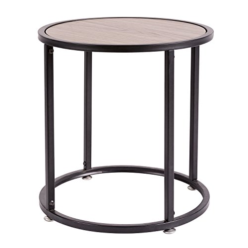 HollyHOME Small Wood Round Coffee Table,15.7