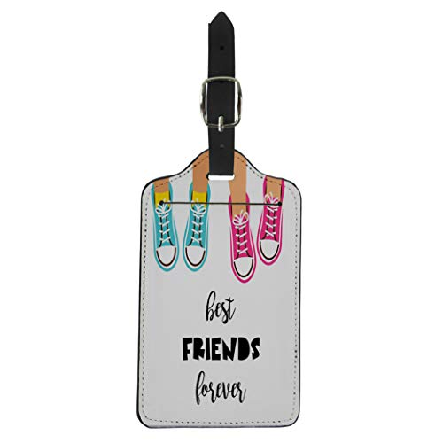 Pinbeam Luggage Tag Abstract Best Friends Forever Happy Friendship Day Black Suitcase Baggage Label ()