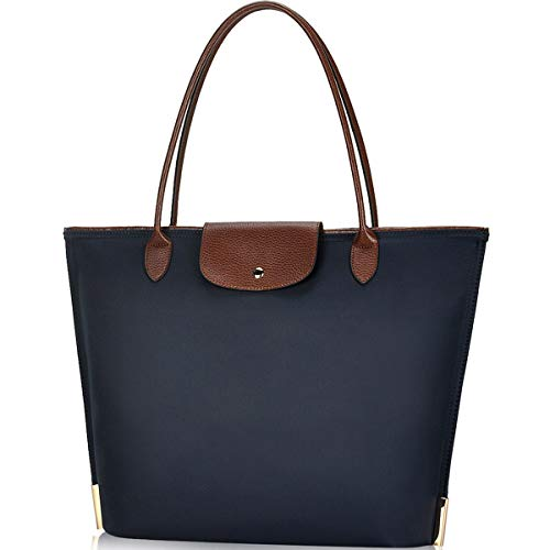 Laptop Tote Bag,15 Inch Water Resistant Nylon Laptop Bag for Women Lightweight Tote Bag with Durable Handle(Blue-1)