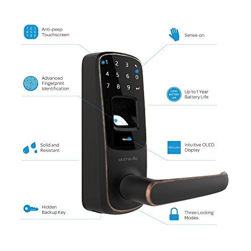 3 Pack Ultraloq UL3 Fingerprint and Touchscreen Keyless Smart Lever Door Lock (Aged Bronze) by Ultraloq (Image #1)