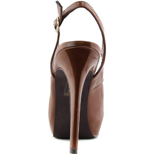 Breckelles Womens Vanesa-11 Slynge Tilbake Pumpe Tan Patent Lær