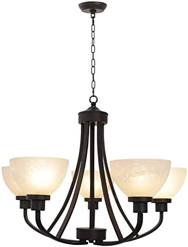 5 Light VINLUZ Large Chandeliers Traditional Vintage Oil-Rubbed Bronze Pendant Lighting Finish with Alabaster Glass Shades Ceiling Light Fixtures for Foyer Dining Room Kitchen