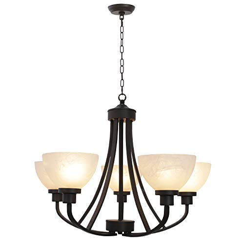 - 5 Light VINLUZ Large Chandeliers Traditional Vintage Oil-Rubbed Bronze Pendant Lighting Finish with Alabaster Glass Shades Ceiling Light Fixtures for Foyer Dining Room Kitchen